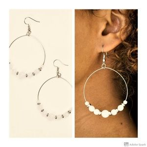 Going For GLOW - White & Silver Hoop Earrings